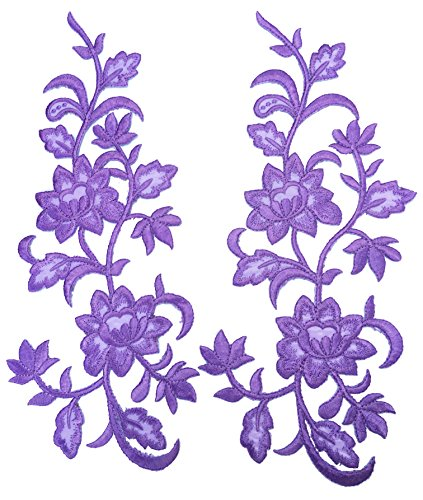 Two Big Flower Iron on Embroidered Appliques Patch Embroidered Lace Fabric Ribbon Trim Neckline Collar (Purple)