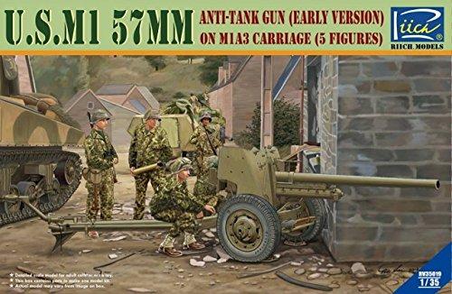 Riich Models 1/35 U.S. M1 Anti-Tank Gun on M1A3 Carriage with Crew Model Kit, 57mm
