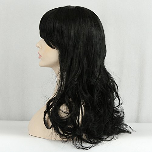 ICOSER Black Long Curly Anime Cosplay Party Hair Wigs for Women 55cm