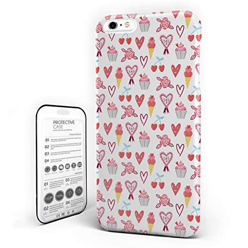 iPhone 6 Plus Case/iPhone 6s Plus Case Hard Plastic PC Ultra Thin Protective Phone Case Cover Compatible iPhone 6 Plus/6s Plus(5.5 inch) Lovely Hearts and Sweet Dessert Cartoon -