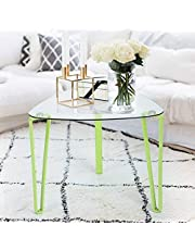 Innovareds End Table Glass Tabletop Metal Tube Legs Modern Home Coffee Table Green