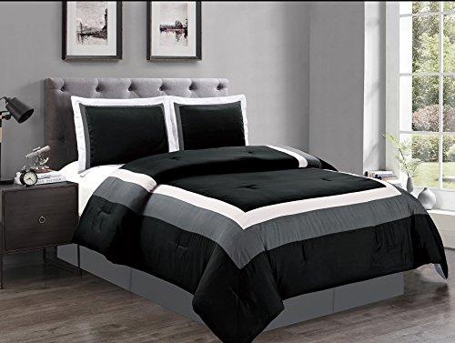 4 Piece KING Size BLACK / WHITE / GREY Color Block MILAN Goose Down Alternative Comforter set 104