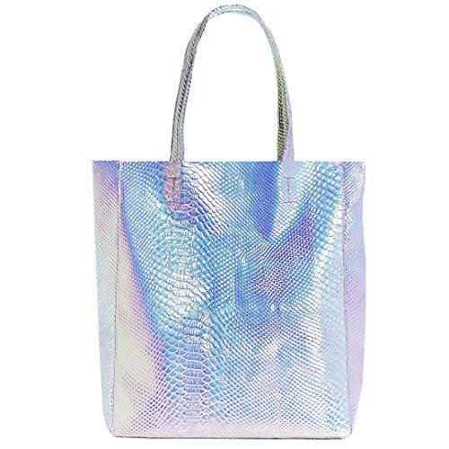Mily Hologram Tote Bag Laser PU Shoulder Bag for Women-Lightweight,Laser PU Leather Handbag (Silver Snakeskin) (Water Snake Handbag)