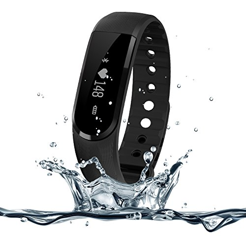 Heart Rate Monitor Watch,007plus D101 IP67 Waterproof Heart Rate Monitor Fitness Tracker Armband Sleep Monitor with Bluetooth 4.0 Pedometers Activity Tracker for Android iOS Smartphone (Black)