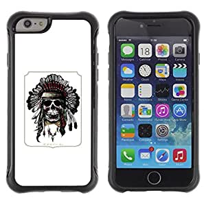 Suave TPU Caso Carcasa de Caucho Funda para Apple Iphone 6 / Indian Feather Headdress Native American / STRONG