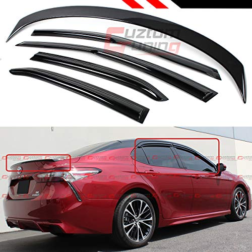 Cuztom Tuning Fits for 2018-2019 Toyota Camry LE SE XSE XLE Glossy Black Trunk LID Spoiler+ 3D Wavy Window Visor RAIN Deflector ()