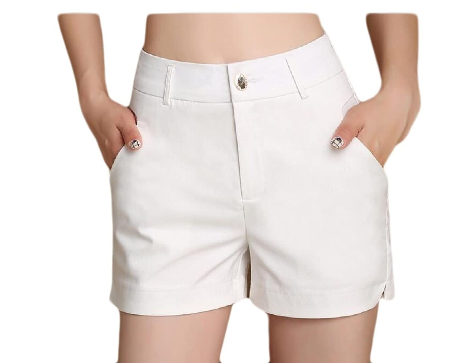 Abetteric Women's Short Hot Pants Summer Casual Outwear Pure Color Boardshorts White S