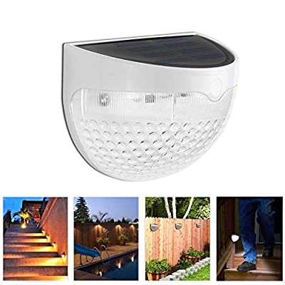 Waterproof Solar Fence Lights Outdoor- 6 LED Sensor Wall Lamp Soft Warm White Auto ON/OFF At Night for Deck Stairs Posts Garden Fence Yard Roof Anywhere
