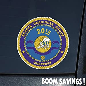 """US Navy SeaBee 20th SeaBee Readiness Group SSI () 6"""" Decal Sticker by BoomSavings"""