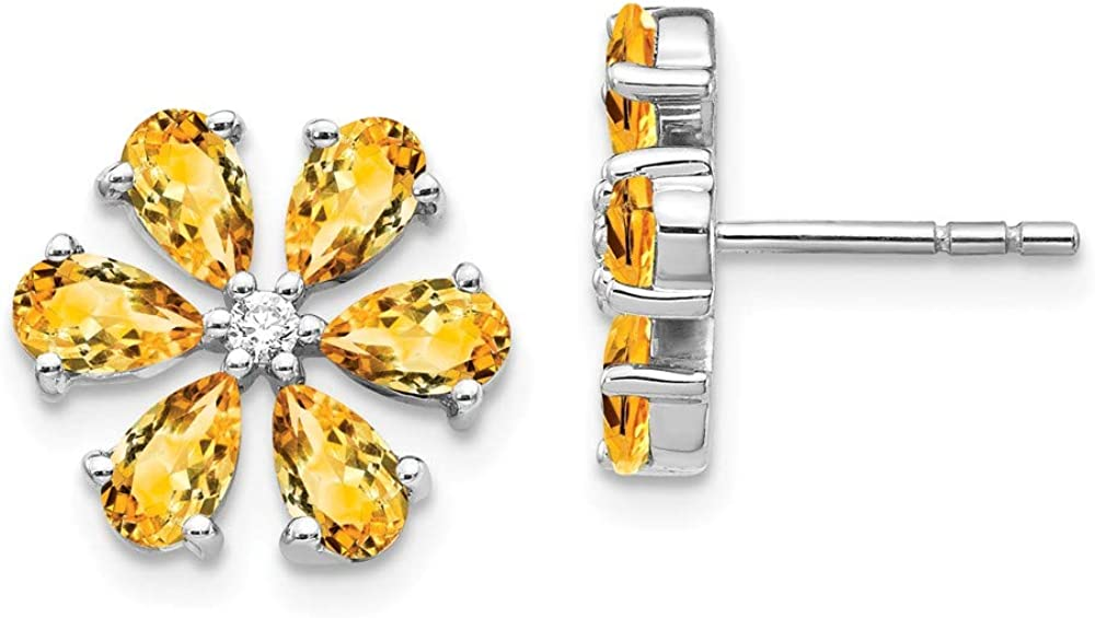 Saris and Things Pendientes de Flores de Diamantes de Oro Blanco de 14k Citrino (0.06ct)