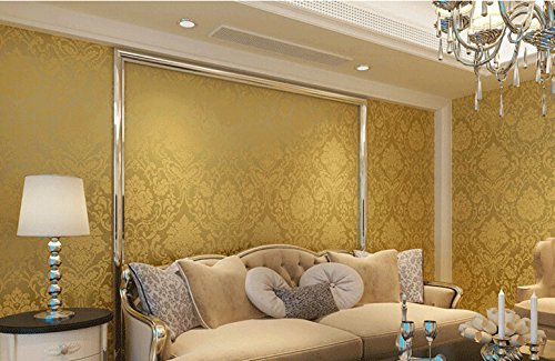 Wall paper textured glitter metallic damask flocking non for Home decor uae
