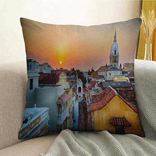 (FreeKite Sunset Microfiber View Over The Rooftops of The Old City Cartagena Cathedral Colombian Coast Picture Sofa Cushion Cover Bedroom car Decoration W16 x L24 Inch Multicolor)