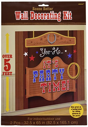 Amscan High Riding Western Party Saloon Door Scene Setter Wall Decorating Kit, Vinyl, 65