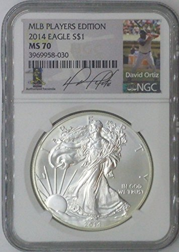 2014 Special Mint $1 MS70 NGC $1 Silver Eagle 1 Troy Oz Fine Silver .999 MLB Players Edition David Ortiz MS70 NGC