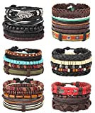 Milacolato 26Pcs Woven Braided Leather Bracelet for Men Women Hemp Cords Wood Beads Cuff Bracelets Adjustable Black
