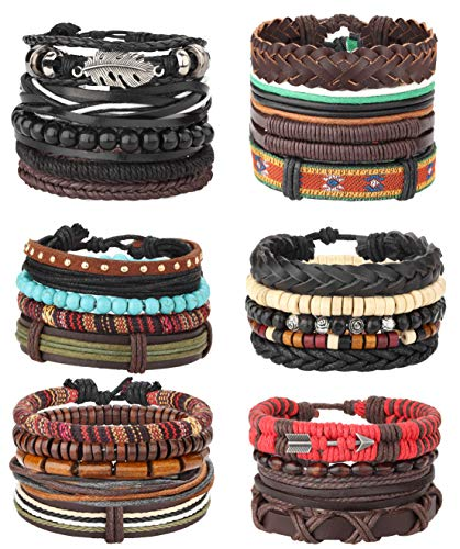 Bracelet Braided Hemp (Milacolato 26Pcs Woven Braided Leather Bracelet for Men Women Hemp Cords Wood Beads Cuff Bracelets Adjustable Black)