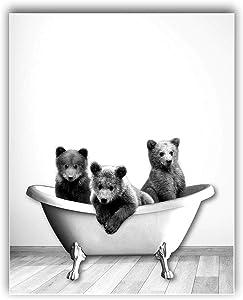3 Baby Bears in Bathtub -Unframed, Bathroom Print, Black and White, Forest Animal, Kids Room , Bathroom Wall Art, Animal Nursery Print (8