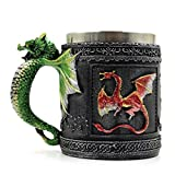 FZZ698 450ML Vintage Coffee Mug with 3D Flying Dragon Gift Cup Stainless Steel Wine Beer Container (multi)