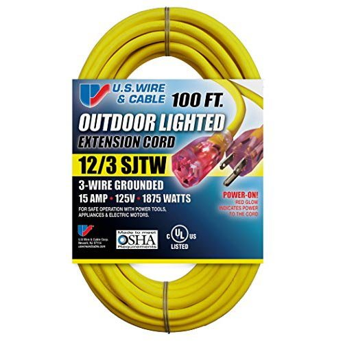 US Wire 12/3 SJTW 100-Foot Outdoor Lighted Extension Cord (Yellow, 8-Pack) Photo #2