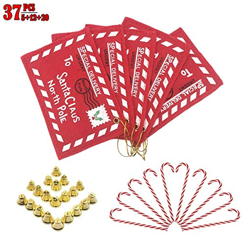 Christmas Tree Ornaments Sets, 5 PCS Embroidered Letter Envelope to Santa Claus Cards Gift Holders, 12 PCS Candy Cane Hanging Decor & 12 Mini Gold Bells for Christmas House Kitchen Party Tree Hanging (Holder Candy Santa)