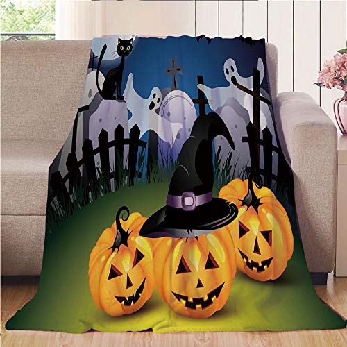 Blanket Comfort Warmth Soft Air Conditioning Easy Care Machine Wash House,Halloween,Funny Cartoon Design with Pumpkins Witches Hat Ghosts Graveyard Full Moon Cat Decorative,Multicolor,47.25