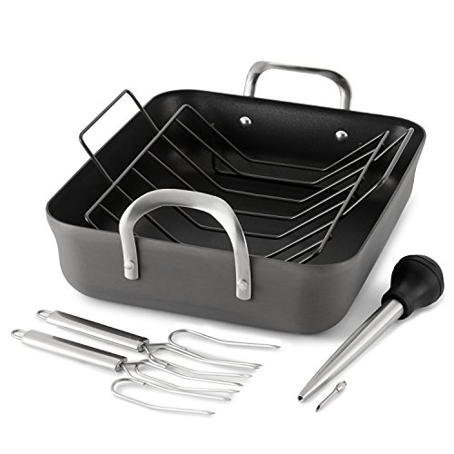 Calphalon Contemporary Hard Anodized Nonstick 16-Inch Roasting Pan with Rack 5 pc. Set
