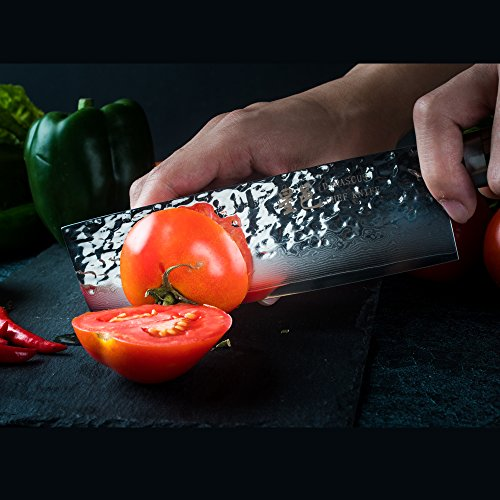 Chef Knife 6.5 inch Nakiri Knife Quality Damascus Steel Kitchen Knives, Razor Sharp Slicing Comfortable Handle Vegetable Cleaver with Gift Box by Xing YI(The Patterns of Natural Wood are Unique) by Xing Yi (Image #1)
