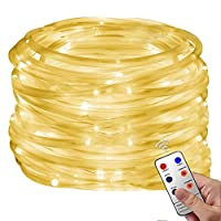Christmas Rope Lights, 33Ft 136 LED Waterproof Strip String Lights with Remote, Firefly lights, 8 Mode Fairy Lights For Christmas Xmas Halloween Home Outdoor Holiday Decoration(Warm White)