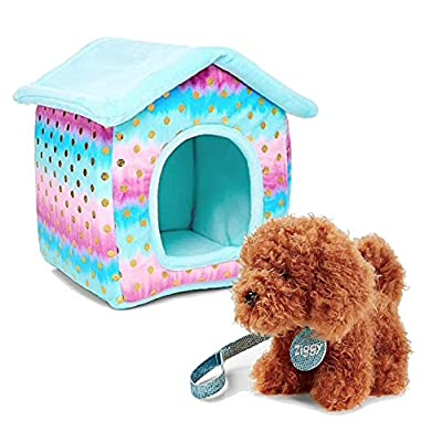 Justice Pet Shop Bundle of 2, Ombre Foil Dot Plush House and Dog Ziggy: Office Products