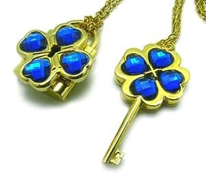 CTMWEB My Guardian Characters Golden Necklace with Blue Gem Key Lock Pendant