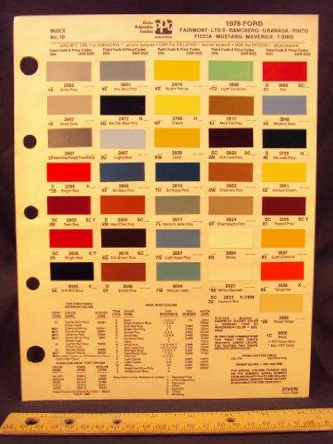 (1978 FORD Fairmont, LDT II, Granada, Pinto, Mustang, Maverick, Ranchero, Fiesta, & Thunderbird Paint Colors Chip Page)