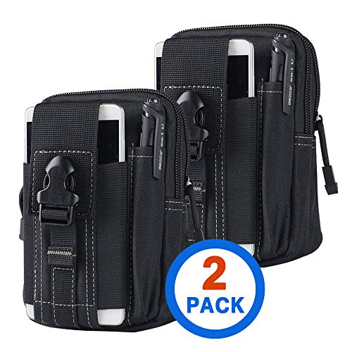 Tactical Waist Belt Bag | Universal Outdoor EDC Military Holster Wallet Pouch Phone Case Gadget Pocket for iPhone X 8 7 6 6s Plus Samsung Galaxy S8 S7 S6 S5 S4 S3 Note 8 5 4 3 2 LG HTC (2 Pack)