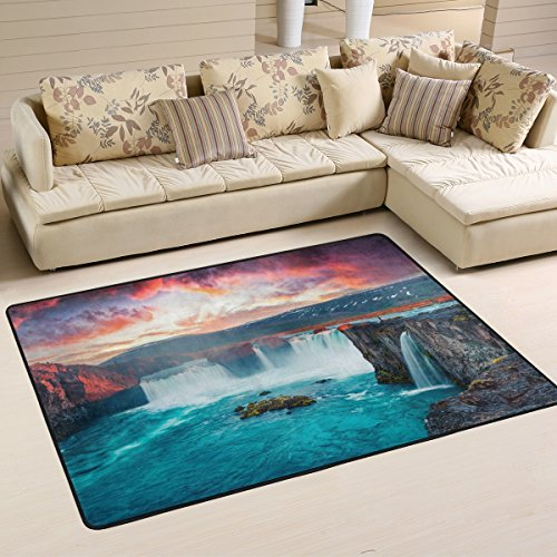ALAZA Summer Morning Scene Waterfall Area Rug Rugs for Living Room Bedroom 3'x2'
