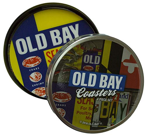Old Bay Seasoning Set of Four Cork Backed Coasters with Collectible Tin