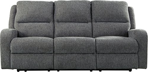 "Ashley Krismen Collection 7810215 82"" Power Reclining Sofa with Adjustable Headrest Chenille Upholstery Track Arms and USB Charging Port in"