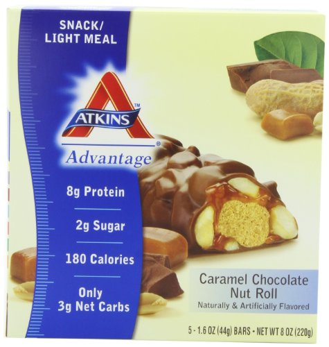 (Atkins Advantage Caramel Chocolate Nut Roll, 1.6 oz. bars, 5-Count Box (Pack of 2))