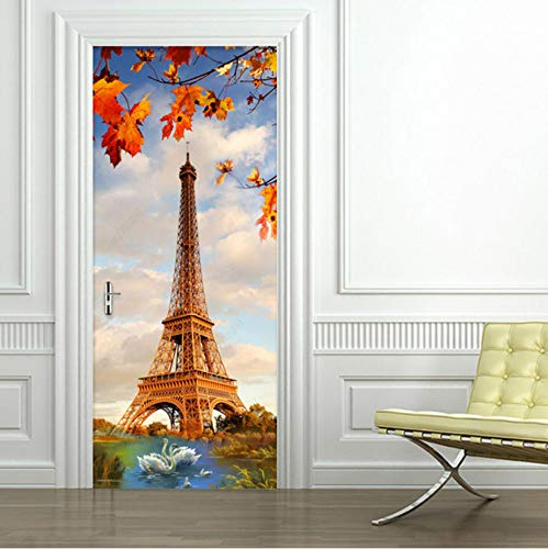 (TWJYDP Door Sticker Creative DIY 3D Wall Paris Tower Swan Lake Wallpaper Modern Living Room Restaurant Home Decor Decals 77X200Cm)