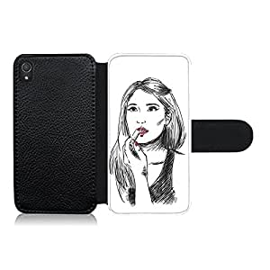 Funda carcasa de cuero para Sony Xperia Z3 diseño chica maquillándose 1