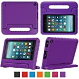 Fire 7 2017 Tablet Case,eTopxizu Shock Proof Case for Fire 7 2017 Tablet ,Kids Shockproof Convertible Handle Light Weight Protective Stand Case for Fire 7-inch (7th Generation, 2017 Release),Purple