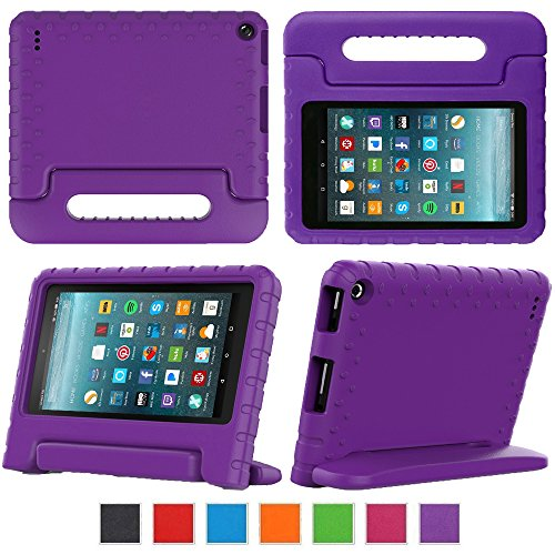Fire 7 2017 Tablet Case,eTopxizu Shock Proof Case for Fire 7 2017 Tablet ,Kids Shockproof Convertible Handle Light Weight Protective Stand Case for Fire 7-inch (7th Generation, 2017 Release),Purple by eTopxizu