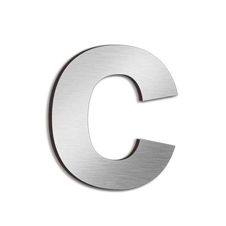 Lettra c F/ácil de instalar y hecho de acero inoxidable s/ólido 304 Nanly N/úmero de casa moderna-10.2Cent/ímetros//4 pulgadas-Acero inoxidable Apariencia flotante