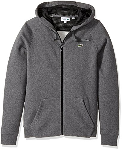 Lacoste Men's Tennis Brushed Fleece Full Zip Hoodie Sweatshirt, Pitch/Black, L - Edge Mens Hooded Zip Sweatshirt