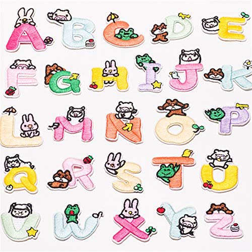 Butie.Dozens of Sets Available Iron on Patches 26 Colorful English Letters Applique Sewing Sticker Iron-On Sewing Applique Kids Clothes Décor (26PCS-RF-44)