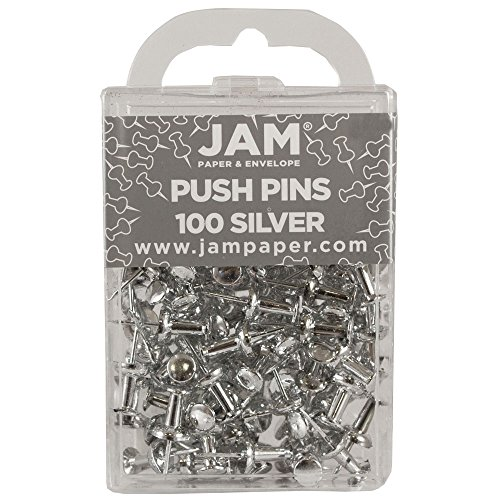 JAM Paper Push Pins - Silver PushPins - 100/Pack - Business Push Pins
