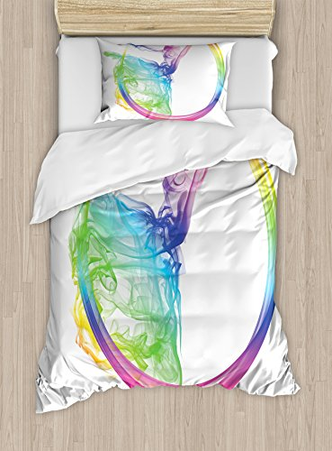 Abstract Home Decor Duvet Cover Set by Ambesonne, Smoke Dance Shape Silhouette of Dancer Ballerina Rainbow Colors Fantasy, 2 Piece Bedding Set with 1 Pillow Sham, Twin / Twin XL Size