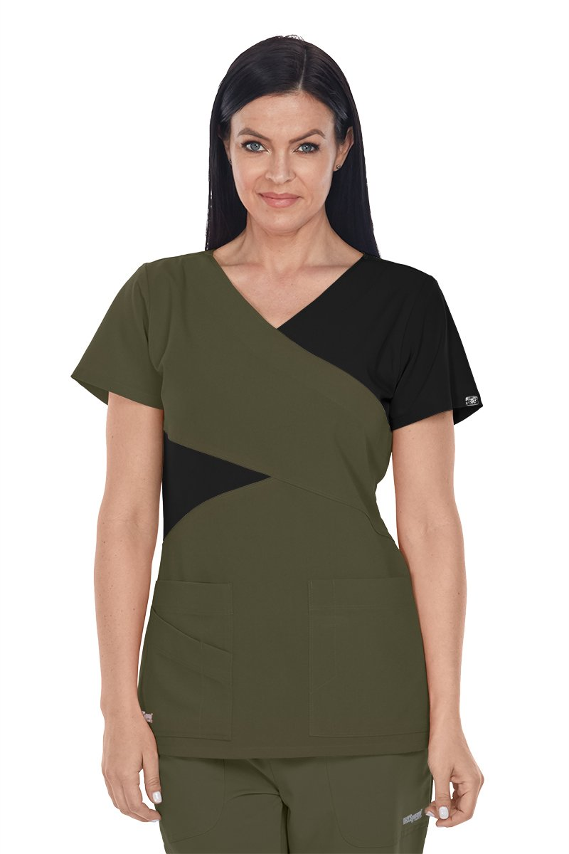 Grey's Anatomy Signature 2140 Contrast Mock Wrap Top Olive/Black XL