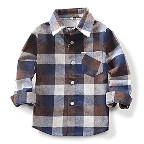 SERAIALDA Baby Boys Girls Button Down Plaid Flannel Long Sleeve Shirt 3T-4T(Tag Size 110)