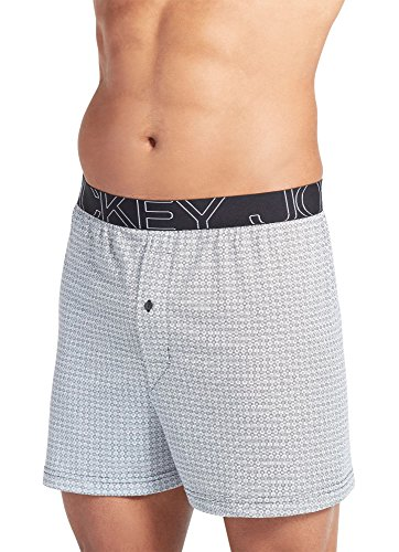 UPC 037882450623, Jockey Men's Underwear Active Blend Knit Boxer, black grid, S