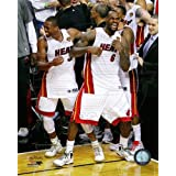 Lebron James & Dwyane Wade - celebrate winning Game 5 of the 2012 NBA Finals 8x10 Photo (Miami Heat)