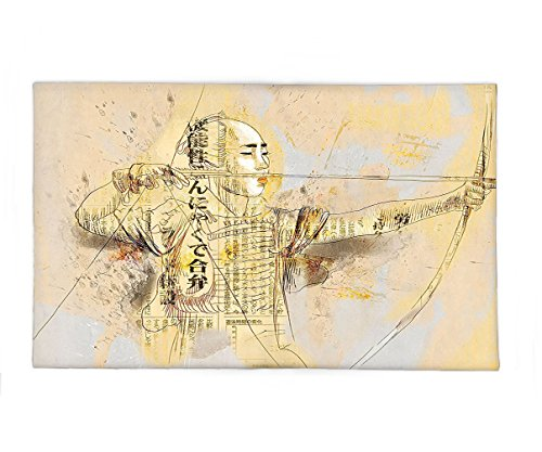 Interestlee Fleece Throw Blanket Japanese Decor An Archer in a Combat Hand Drawn Modern Martial Art Asian War Culture Illustration Yellow Black